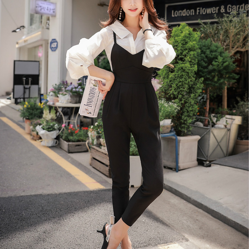 Dabuwawa Autumn Sleeveless   Jumpsuits   2018 New Black Casual High Waist Strap Bodysuits High Street Vintage Hollow Out   Jumpsuits