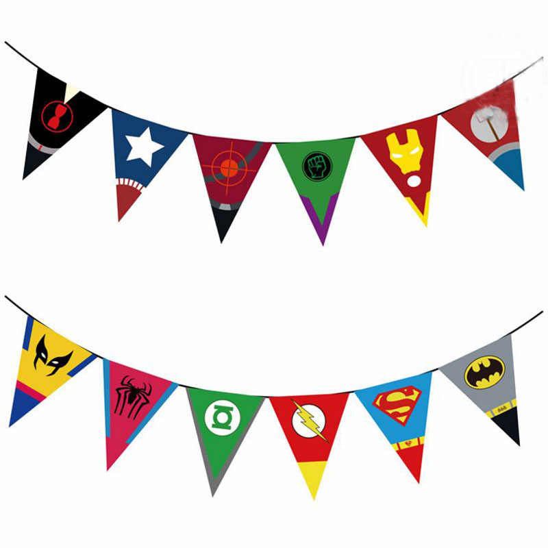 1Set Hot sale Spiderman Superhero Banners Paper Bunting Baby Shower Flags kids birthday Party Hanging Decor