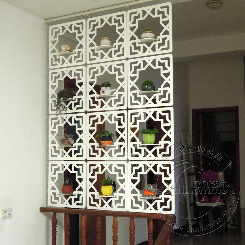 Carved Wood Glove Hanging Screen Entranceway Office Partition Ivory White Brief Cutout Hanging Screen Room Divider