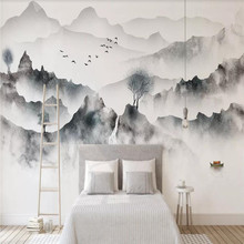 New Chinese style hand-painted artistic ink landscape TV sofa background wall