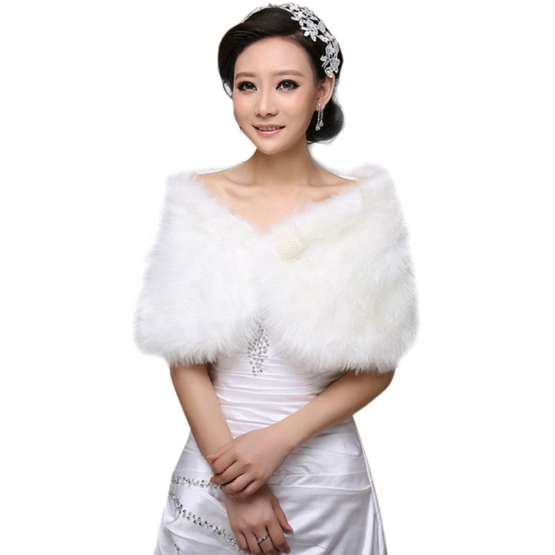 Womens White Faux Fur Bridal   Wrap   Stole Shawl Cape Wedding Artificial Pearl Ball Embellishment Winter Coat Shrug