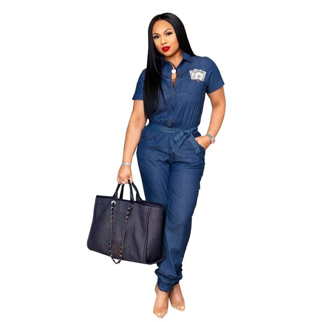 53e526e49b Summer Women Jeans Button Jumpsuit Sashes Overalls Denim Romper Turn Down  Collar Short Sleeve Pockets Loose Casual Jumpsuits