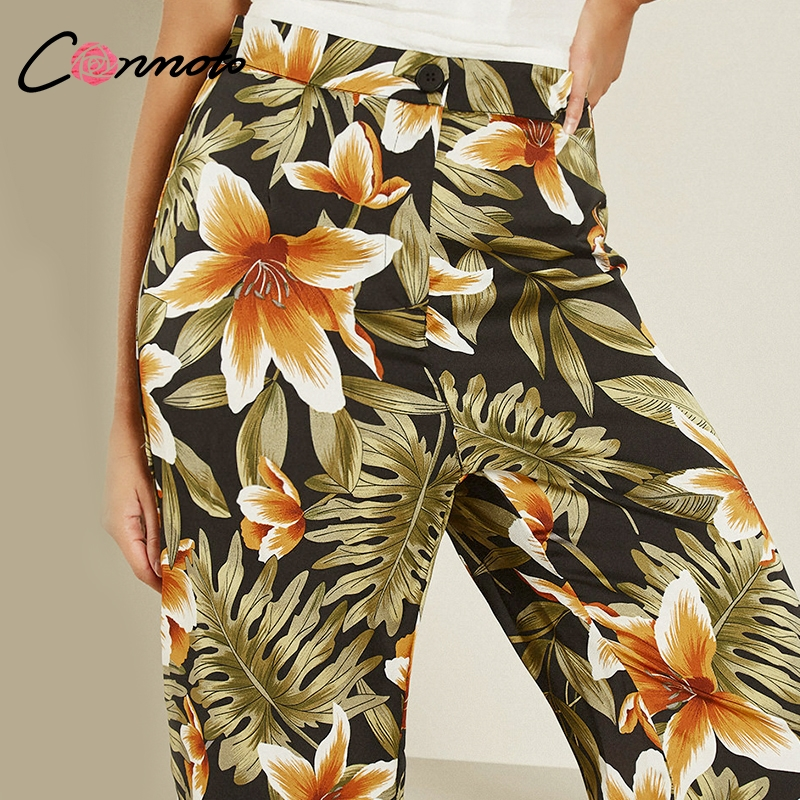 Conmoto Boho Print   Pants   Women High Waist Straight   Pants   2019 Summer Casual   Wide     Leg     Pants   Beach Trousers Female Long   Pants