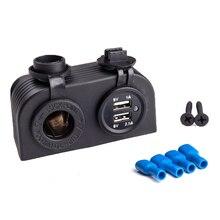 12V/24V Auto Cigarette Lighter Socket Dual USB Car Charger Power Adapter Waterproof Splitter Phone for Motorbike