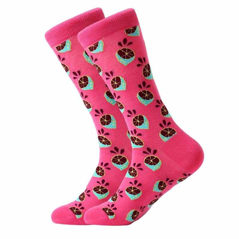 LETSBUY 5 пара/лот мужские цветные забавные носки хлопок фруктовая серия длинные носки для мужчин повседневные платья яркие разноцветные Свадебные gif
