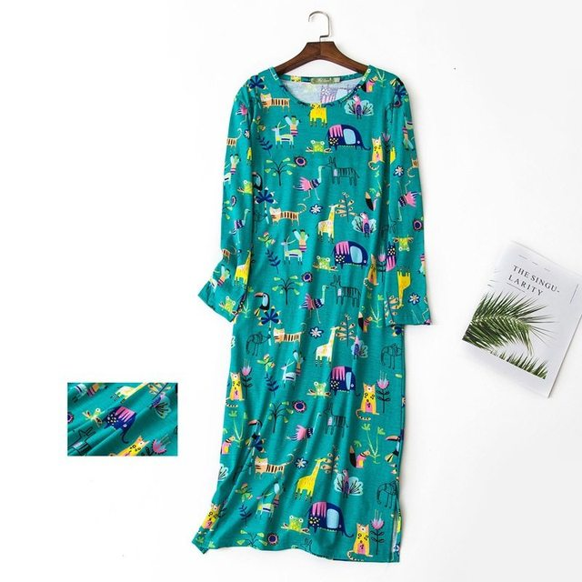 2019 Spring XXL Sleepshirt Girl Casual Cartoon nightgown Women Cotton  nightdress Female long sleeve O-neck collar sleeping dress cb2c0eff7