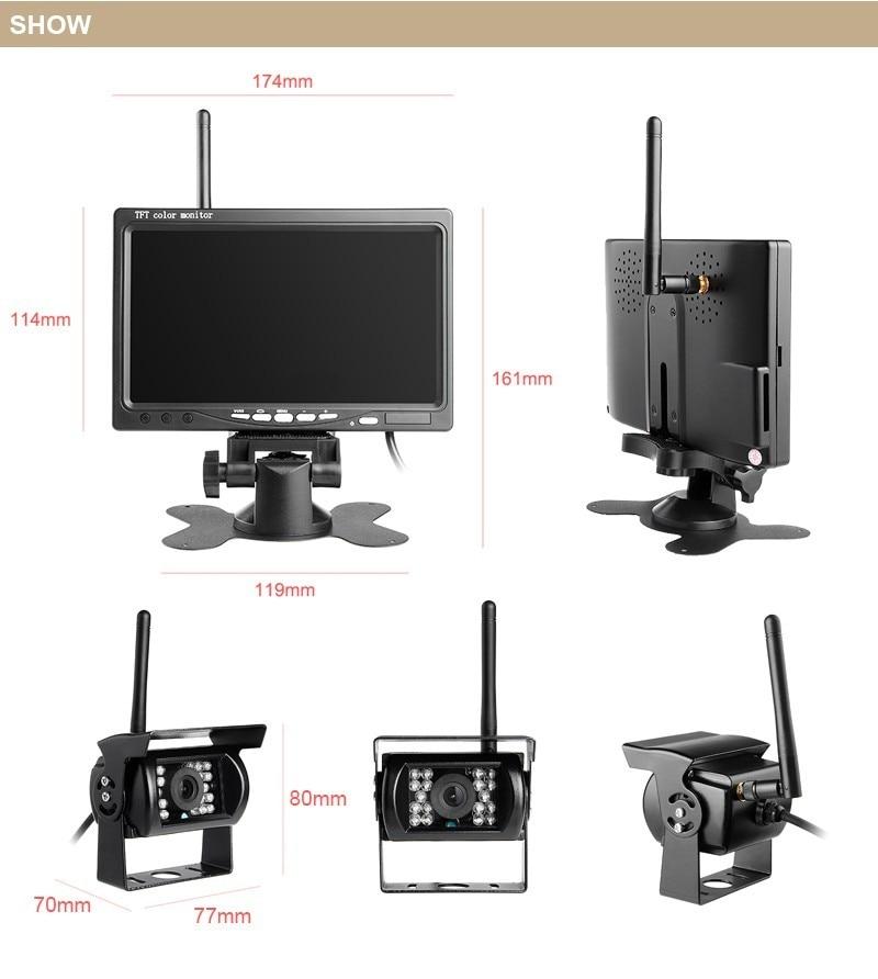 Backup Camera and Monitor Kit Wireless Waterproof For Truck/Semi-Trailer/Box Truck/RV When Reversing Parking Backing to Avoid B