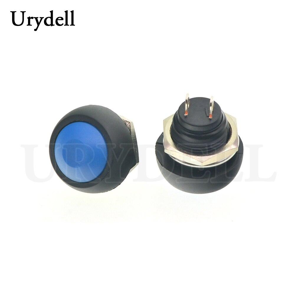 1 шт. красный/зеленый/белый/черный/синий/желтый/оранжевый ВКЛ-ВЫКЛ 12 мм водонепроницаемый Мгновенный кнопочный переключатель SPDT - Цвет: Blue