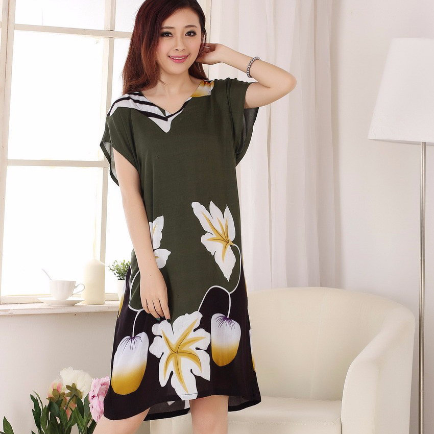 Novelty Print Chinese Tradition Women Cotton Bathrobe Sexy Long Robe   Nightgown   Summer Casual   Sleepshirt   Flower One Size 012103