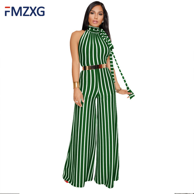 6201b95fe65 Women Summer Striped Printed PU Belt Bow Wide Leg Evening Party Casual  Streetwear Long Pants Overalls Elegant Rompers Jumpsuits