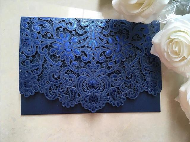 Dark blue wedding invitations card embossed birthday anniversary