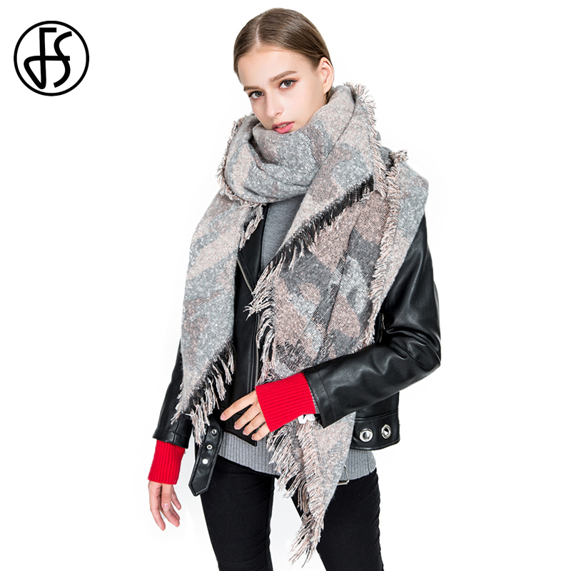Fs Luxury Brand Winter Wool Scarves Women Leopard Camouflage
