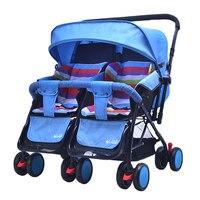 2018 Twin коляска детская коляска для двойни коляски для новорожденных Лето Зима двойного назначения коляска Близнецы легкий двойной коляски