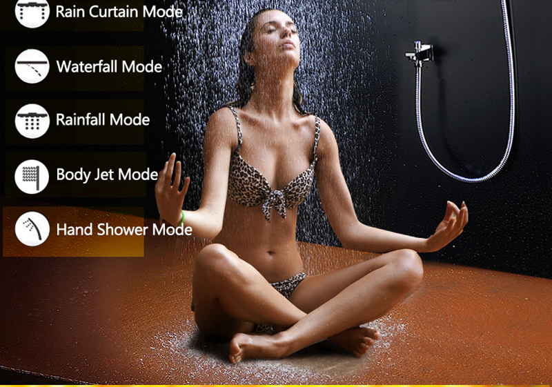 Bathroom Fixture Shower Faucets Ceiling Mounted Waterfall Mist Shower Head Big Rain LED Shower Set High Flow Thermostatic Bath (6)