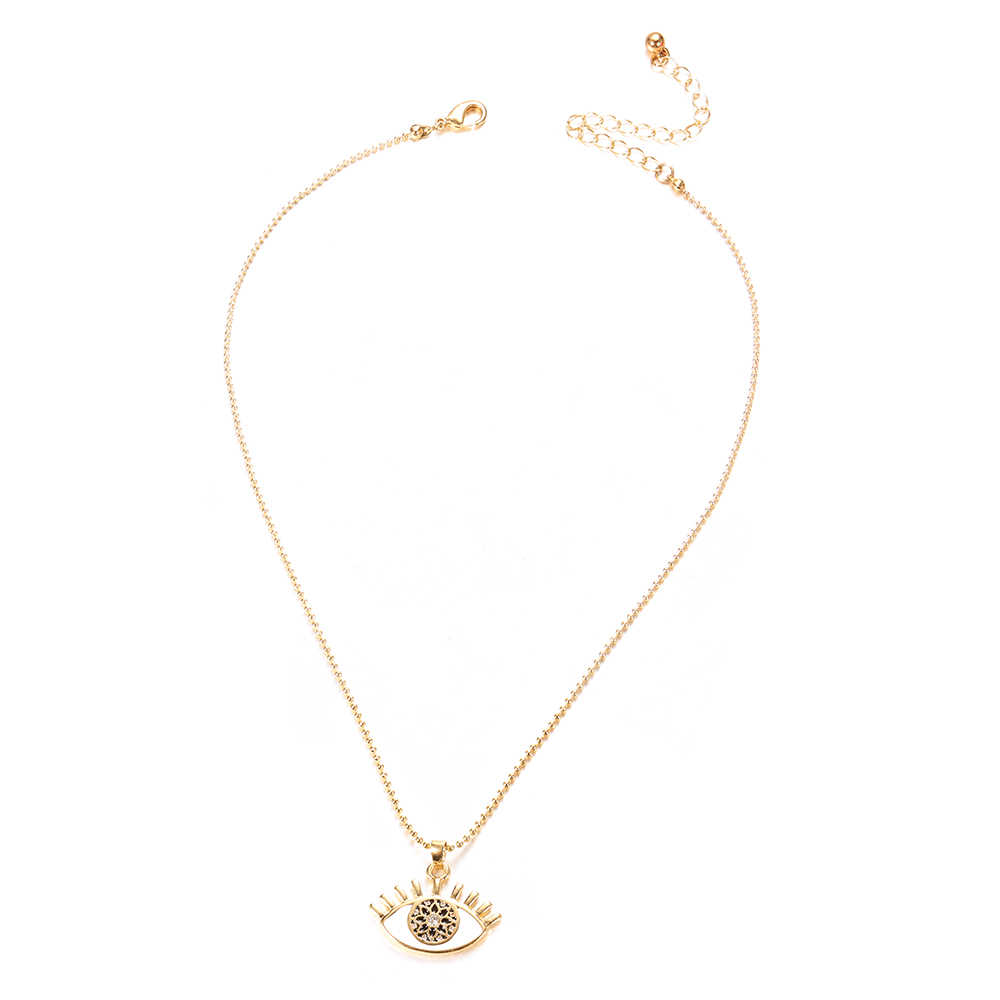 Gold Color Eye Necklace for Women Long Chain Crystal Turkish Eye Pendant Necklaces Trendy Rhinestone collier Choker Jewelry