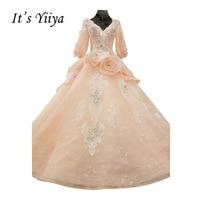 It S YiiYa Pink Half Sleeve Crystal Luxury Flower Beading Wedding Dresses High Grade Sequined Appliques