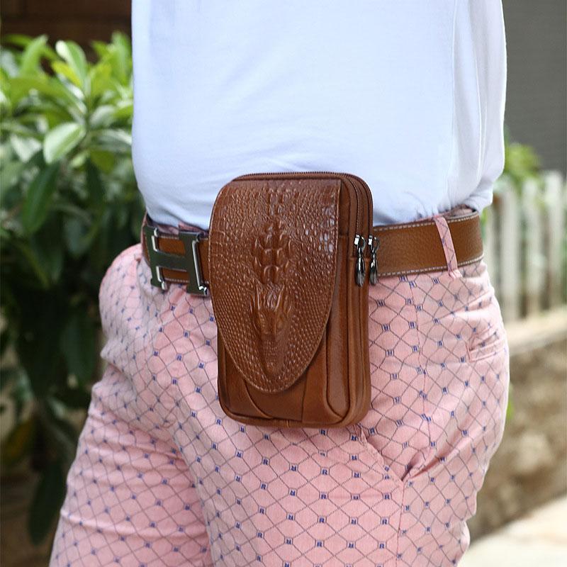 YIANG Classic Leather Belt Pouch Men Äkta Läder Kohhide - Bälten väskor - Foto 6
