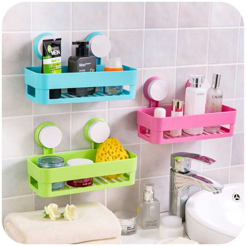 Multicolor strong double sucker shelving, storage rack bathroom toilet, kitchen debris planes SN0111
