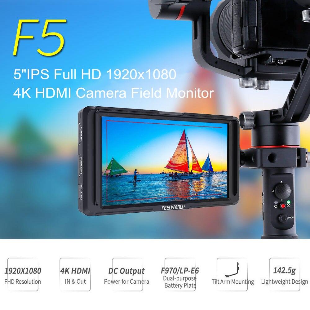 Feelworld F5 5 Polegada IPS DSLR 4K Campo Monitor HDMI Monitor Da Câmera Pequena HD Gravação De Vídeo Cinema Full HD 1920x1080