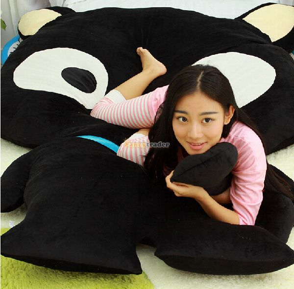 Fancytrader 220cm X 150cm Soft Cute Stuffed Biggest Black Cat Double Bed Carpet Sofa Tatami Mattress, Free Shipping FT50328 william mark change face feisty pet black cat funny expression stuffed animal doll for kids cute christmas free shipping