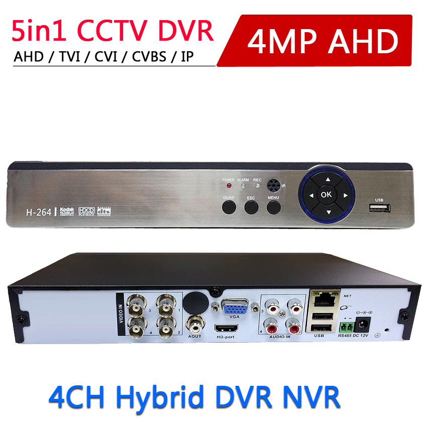 Onvif P2p 5 IN 1 4MP AHD DVR NVR XVR CCTV 4Ch 1080P 3MP 5MP Hybrid Security DVR Recorder Camera