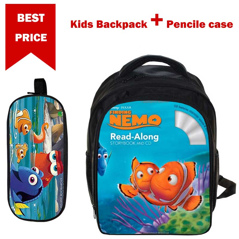 Gifts for Boys Girls 3-6years Children Finding Nemo pattern Cartoon School Bag Satchel Bag Kids Book Bag with Pencil Case anime tokyo ghoul boys girls cartoon pencil case bag school pouches children student pen bag kids purse wallet gift