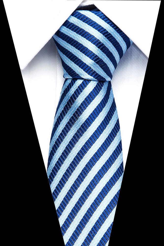 Dropshipping 격자 무늬 넥타이 실크 자카드 직물 웨딩 넥타이 스트라이프 그라디언트 블루 레드 그린 넥타이 정장 파티 Gravatas