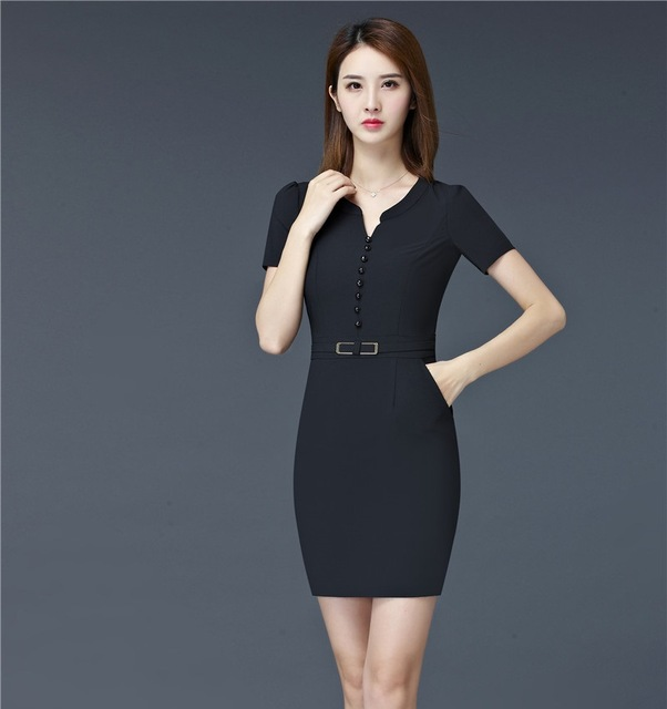 973141cd463 Fashion Women Summer Dresses Formal Ladies Work Dress Black Short Sleeve  Office Uniform Style