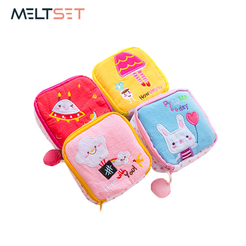 Cute Cartoon Sanitary Napkin Bag Mini Pouch Small Women Cotton Bag Girl Sanitary Pad Storage Bag Coin Cash Storage Bag Organizer