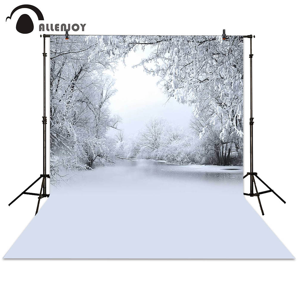 Allenjoy photography backdrop christmas winter lake white tree snow frozen background newborn photocall photo studio allenjoy background for photo studio full moon spider black cat pumpkin halloween backdrop newborn original design fantasy props