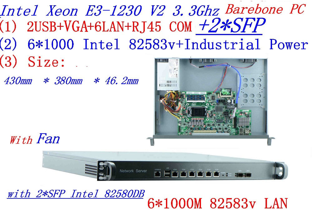 Universal Access Routers 1U Firewall Barebone PC With 2*SFP Intel  6*82583v Gigabit Lan Inte Quad Core Xeon E3-1230 V2 3.3G