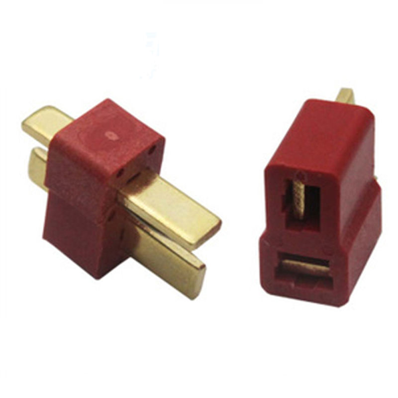 2 Pairs Of WAMA T Plug Male + Female Copper Deans Connectors For RC RC LiPo Battery Vehicles Remote Control Game Toys