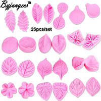 Byjunyeor C266 3D Leaf Rose Maple Leaf Petal Silicone Mold Fondant Cake Decorating Tools Gumpaste Chocolate Moulds
