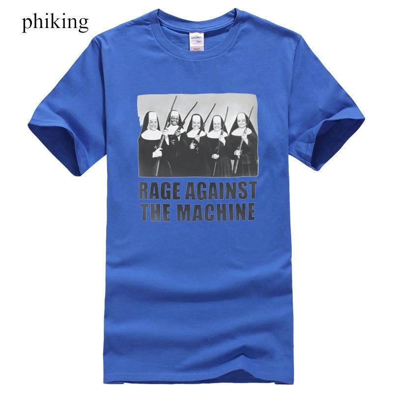 Men Fashion Shirt Printed T-Shirt Rage Against The Machine Nuns With Guns T-Shirt Mens Short Sleeve Shirt