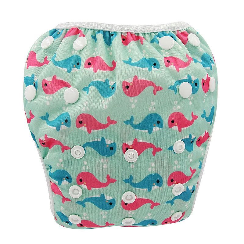 Ohbabyka Baby Swim Diaper Reusable Diaper Cover Washable Baby Boy Girl Swimwear Pool Pant Animal Print Infant Baby Cloth Nappies