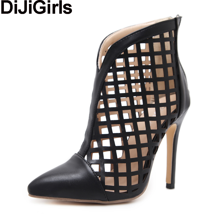 DiJiGirls Women Pumps Summer Bootie Pointy Toe Cut-outs Fretwork Caged Ankle Boots Spring Women High Heel Dress Shoes Stilettos