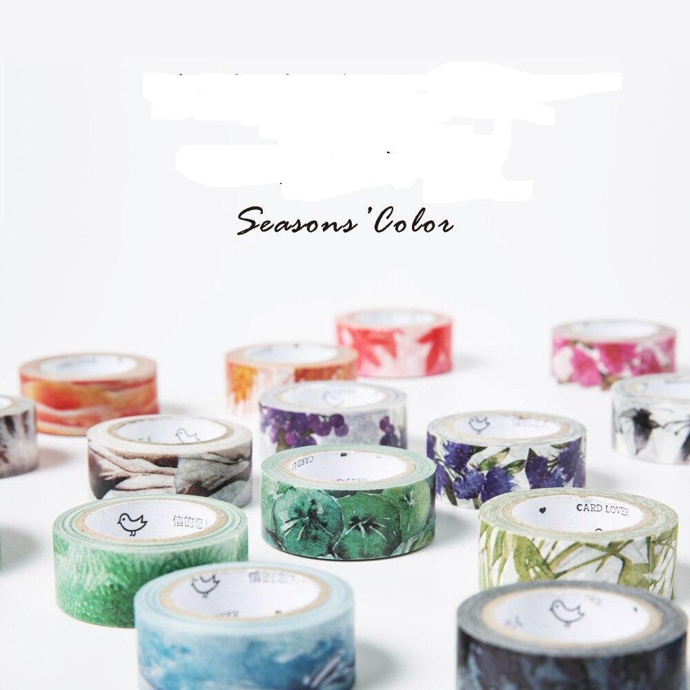 20 pcs/lot DIY Cartoon Paper Washi Masking Tapes Colorfull season decorative adhesive tape stickers/School Supplies Size 15mm*7M