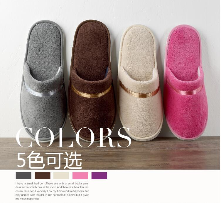 Free Shipping 10pairs/lot Mixed Color Good Quality Party Beauty SPA Family Hotel Coral Velvet Slippers Wholesale