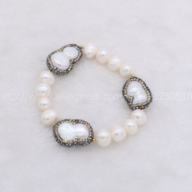 Natural Pearl Strand Bracelet With 3 Peanuts Pearls Bangle Handcrafted Beaded Gem Jewelry