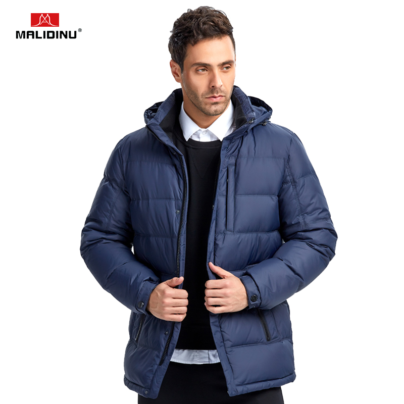 MALIDINU 2018 New Men Down Jacket Brand Winter Jacket Mens Thick Down Coat Hooded Zipper Rib
