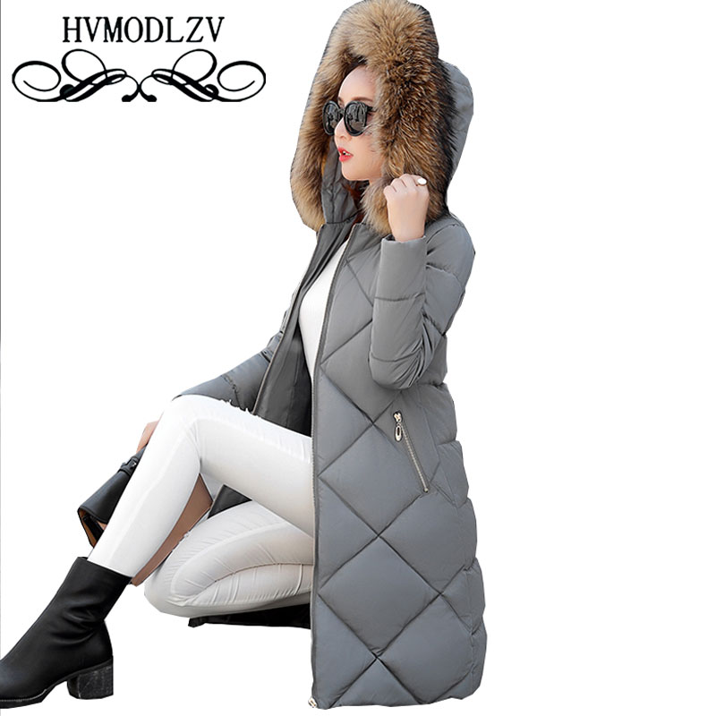 Ukraine Fur collar Hooded Winter Women Down Cotton Long Coat 2017 Parka Large size Thick Female