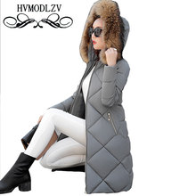 Ukraine Fur collar Hooded Winter Women Down Cotton Long Coat 2017 Parka Large size Thick Female Jacket Manteau Femme Hiver L318B