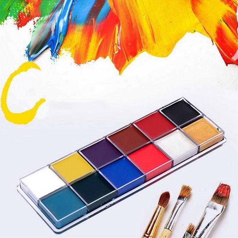 12 cores conjunto halloween maquiagem pintura a