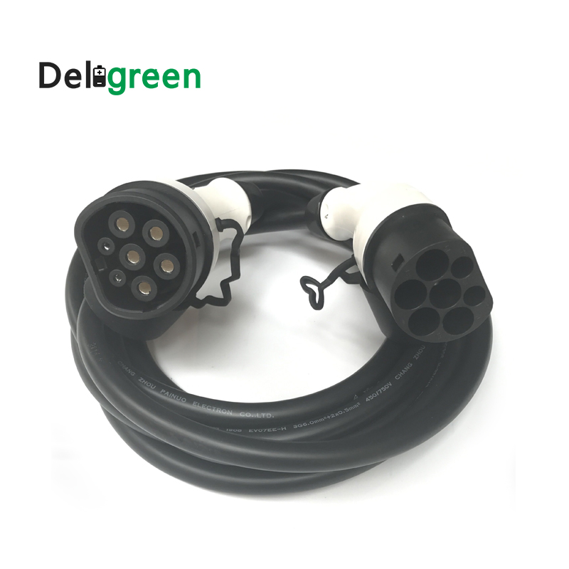 32A Type 2 to Type 2 male plug to female plug IEC62196 EV Charging Plug with