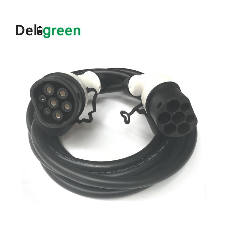 32A Type 2 to Type 2 male plug to female plug IEC62196 EV Charging Plug with