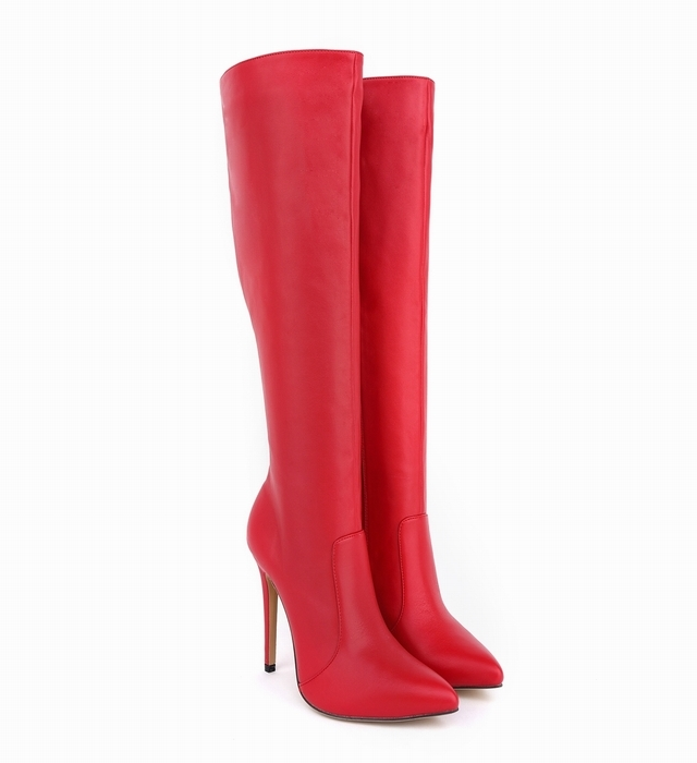ФОТО Sexy Slim Over The Knee Boots 2015 Brand Red High Heels Long Boots Autumn Winter Warm Shoes Woman Pointed Toe Boot Smynlk-0091a