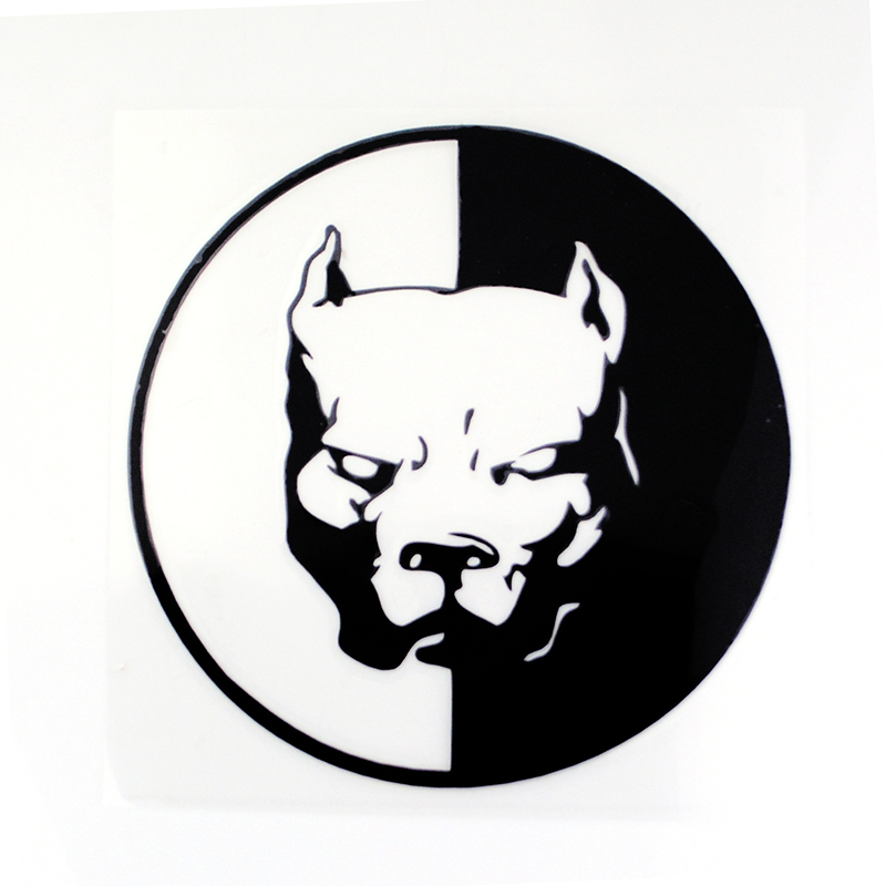 1PC PITBULL Car Stickers 12*12CM Black White Motorcycle Car Styling Decals 3D Funny Car Stickers for Auto Sticker 2017 car styling 3d funny car stickers little devil angel sticker on car automobile decals car styling red gold silver color