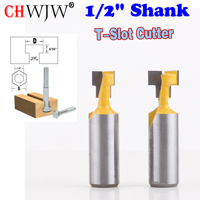 2PC 1/2 Shank  T-Slot Cutter Router Bit for 1/4 Hex Bolt 9.52,12.7mm Diameter Wood Cutting Tool  - Chwjw 60002 1pc 8mm shank high quality straight dado router bit set diameter wood cutting tool
