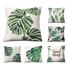 Pillow Covers Simple Comfortable Skin Affinity Pillow Good Sleep Nordic Green Plants Flax Bed Sofa Cushion Cover Seat B-128