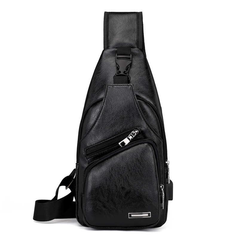 Saco de peito masculino de carregamento usb cross-border para personalizado pu pvc bolsa de ombro pacote diagonal mensageiro bolsa de viagem masculino